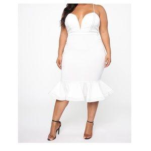 'Christelle Mermaid Midi Dress'-White